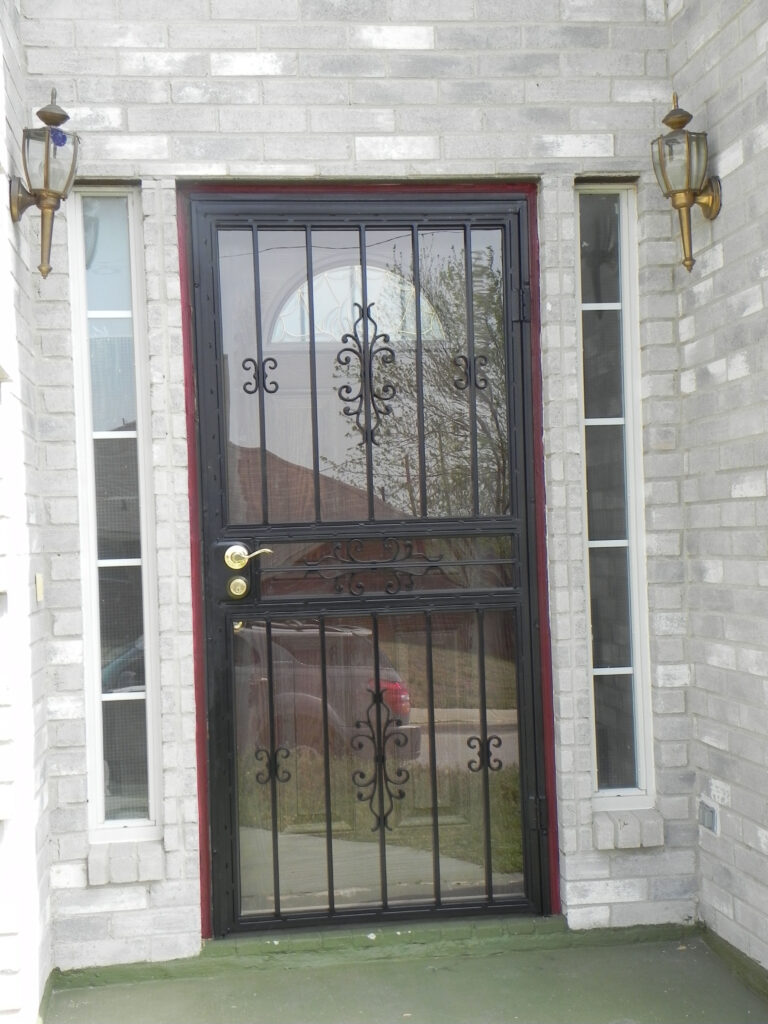 decorative iron work to add security for door