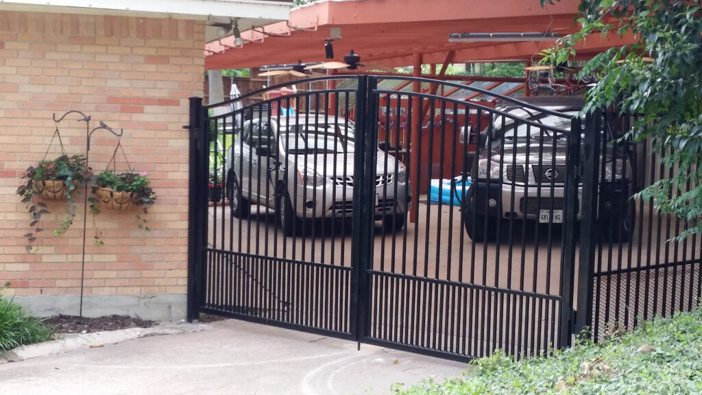 Wrought Iron Driveway Gate with Pet Panel