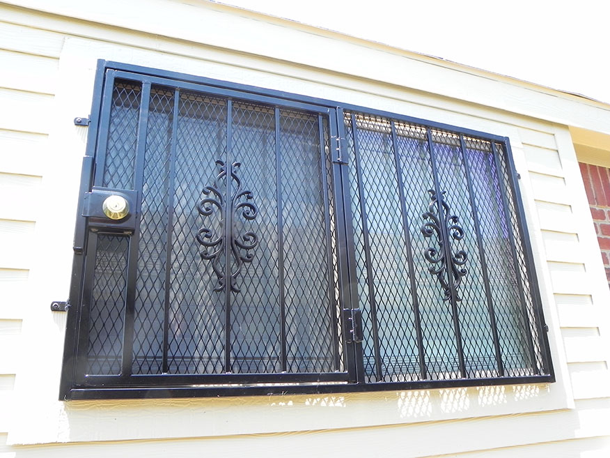 security lock and burglar bars on window